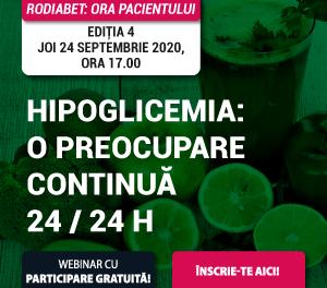 """S-au deschis înscrierile la Webinarul """"RoDiabet: Ora Pacientului"""" din 24 septembrie. Tema ediției: Hipoglicemia"""