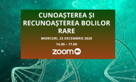 """Platforma BolileRare.ro organizează pe 23 decembrie dezbaterea video cu tema """"Cunoașterea și recunoașterea bolilor rare"""""""